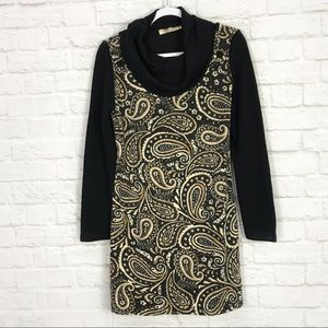 Aryeh Cowl Neck Long Sleeve Paisley Sweater Dress